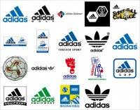 Все фирменные логотипы компании Adidas